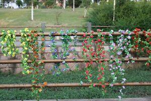 Lot of 2 Artificial Silk Rose Flower Garland Vine Wedding Party Garden Decoratio