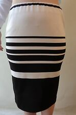 New Brown Sugar skirt size 10 black cream stretch striped NWT