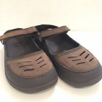 Crocs Women's 7 Brown Mary Jane Leather Rubber Comfort Shoes Hook Loop