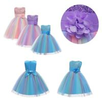 Flower Girls Dress Kids Petals Princess Dress Wedding Bridesmaid Party Tutu Gown