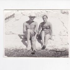 1950s Nude muscle man with woman on the beach gay interest old Russian photo
