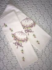 New Vintage Embroidered Umbrella Parasol Standard Floral Flower Bed Pillowcase