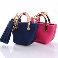Cute Mini Bag Key Chain PU Leather Tassel Bag Pendant Small Coin Key Ring Purse