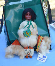 Vintage Eskimo Girl Doll Handcrafted Fur and Leather Clothing with tag