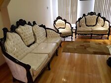 Leather Sofa Set Couch Loveseat Armchair Living Room Furniture Wood Modern White