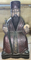 """Vintage Wood Composite 10.5"""" Oriental God With Cane & Coin Statue Figurine"""
