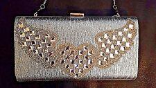"Rhinestone Hard Shell Clutch Angel Heart Wings J ""Crown Princess Collection"" NWT"