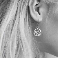 Supernatural Pentacle Pentagram Silver Earrings.