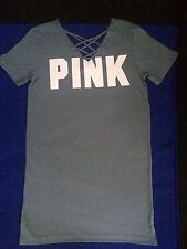 NWT Victoria's Secret PINK Xs Campus Strappy Tee T-Shirt Dress Logo Lace Up Cage