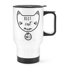 Best Cat Mum Travel Mug Cup With Handle - Crazy Cat Lady Kitten Thermal Funny