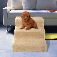 Dog Pet Stairs Steps Indoor Ramp Folding Animal Ladder with Cover Beige