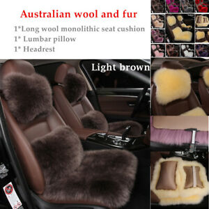 Sheepskin Australian Wool Fur Car Seat Cover Waist Cushion  Pillow Universal Kit