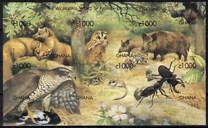 Ghana 1999 MNH Imperf SS, Animals, Birds, Insects, Raptors, Pig, Fox, Owl