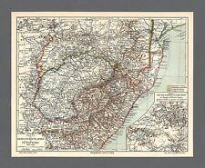 Landkarte von 1908 Kriegsschauplatz in Südafrika 1899-1902