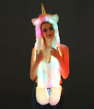 Unicorn Faux Fur Animal Ears Hat Gloves Mittens LED Long Scarf Snood Hood Paws