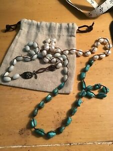 """Authentic LOVE HEALS pearl and turquoise 42"""" necklace excellent"""