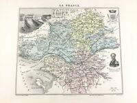 1893 Antik Map Of Loire Inférieure Nantes Frankreich French Regional Hand- Bunt