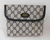 Gucci Vintage Blue GG Monogram Canvas Leather Accessory Collection Clutch Rare