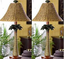 Set of 2 ** Bahama ** PALM TREE RATTAN COLUMN LAMPS W/ OPEN-WEAVE SHADES ** NIB