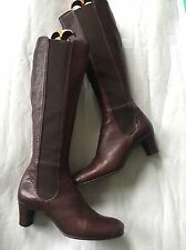 L K Bennett Luxury Rich Chestnut Brown Leather Knee High Chelsea Boots 4 37