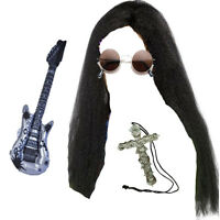 Ozzy Osbourne Long Wig, Glasses, Cross & Guitar Rocker Fancy Dress Costume Kit