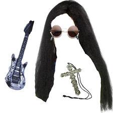 OZZY Osbourne lunga parrucca, occhiali, CROSS & CHITARRA Rocker Costume Kit