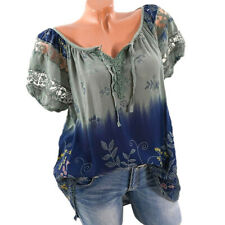 Womens Summer Floral V Neck Blouses Loose Baggy Tops Tunic T Shirts Plus SizeCA