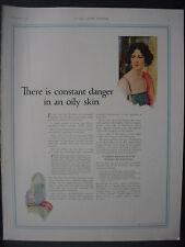1922 Jergens Skin Care Products Danger Oily Skin Color Vintage Print Ad 12087