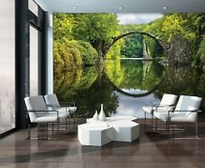 "144x100inch Wall mural photo wallpaper Forest scene ""Bridge"" + adhesive Green"