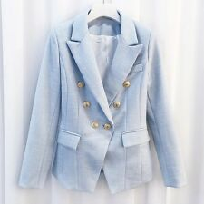 Designer Inspired Double Breasted Blue Cotton Blazer Lion Button UK/AU 10-12