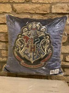 Harry Potter Pottery Barn Kids Hogwarts Crest Velvet Blue Pillow Bedding New
