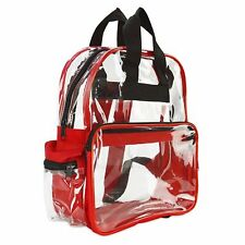 Travel Bag Unisex Transparent School Security Clear Backpack Red Plastic CBP