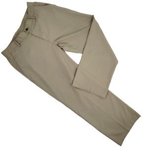Adidas Golf Pants Men 32 x 30 Tan Flat Front Polyester Straight Leg
