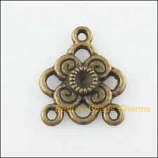 5Pcs Antiqued Bronze Tone Triangle Flower Charms Pendants Connectors 17x20mm