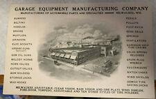 1911 MILWAUKEE WI GARAGE EQUIPMENT CO ADVERTISING POSTCARD