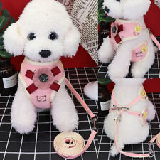 Cute Pet Dog Harness & Leash Adjustable Mesh Padded Puppy Cat Harness Vest Pink
