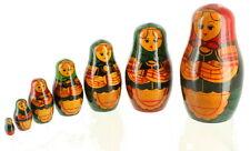 "VINTAGE RUSSIAN MATRYOSHKA NESTING DOLLS HAND PAINTED WOOD 7PC USSR STICKER 5.5"""