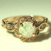 Sparkling Round Blue Opal Ring Women Wedding Jewelry 14K Gold Plated Nickel Free