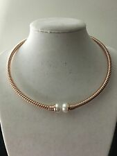 LQQK! Honora White Cultured Pearl 10.0mm Tubogas ROSE Colored Bronze Necklace