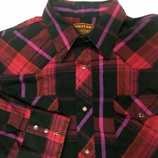 RUSTLER WESTERN SNAP FRONT SHIRT Size 16 1/2 34/35 X LONG TAIL POLYESTER Cotton