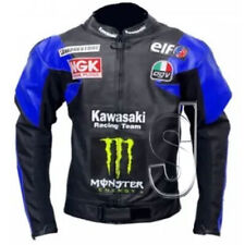 Men's Black & Blue Motorcycle Kawasaki Genuine Leather Patches Jacket Customized