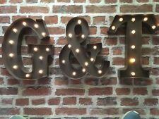LED LIGHT CARNIVAL   RUST  METAL LETTERS - G & T- WALL OR FREE STANDING 13 INCH