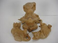 MEDITATING YOGA HAND CARVED WOOD DOG WITH 3 CATS FIGURINE