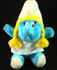 "SMURFETTE-STUFFED PLUSH-DRESS-VINTAGE-1981-TAGS-8""-WALLACE-BERRIE-LONG HAIR-RARE"