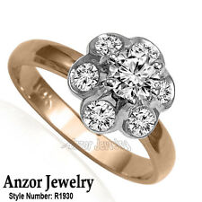 Russian Style ladys ring 18k Solid Rose and White Genuine Diamond Ring #R1930