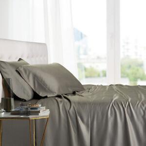 Super Soft Bamboo Viscose Bed Sheets Luxury Deep Pocket Cool Solid Sheet Set