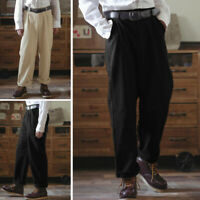 Men's Comfort Solid Formal Business Dress Pants Loose Fit Casual Long Trousers