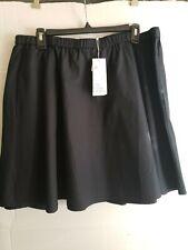 Eileen FISHER Black Cotton Elastic Waist Flare Short Skirt Size Lg