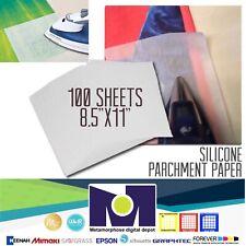 "100-Sheets Pre-Cut Parchment Paper, 8.5""x11"", Heat Press, Dual Sides Coated USA"