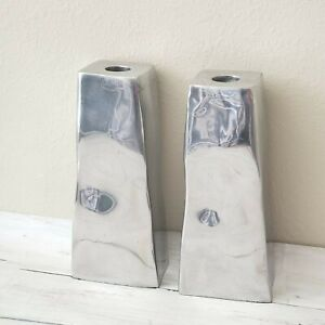 """Set of 2 Pottery Barn Candlestick Holders Silver Tone Pewter Square 7"""" Tall Deco"""
